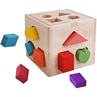 babyprice Nicely Crafted早期開発のおもちゃ、木製スタッキングブロック、木製Shape Sorting Cube for就学、幼児、子供と