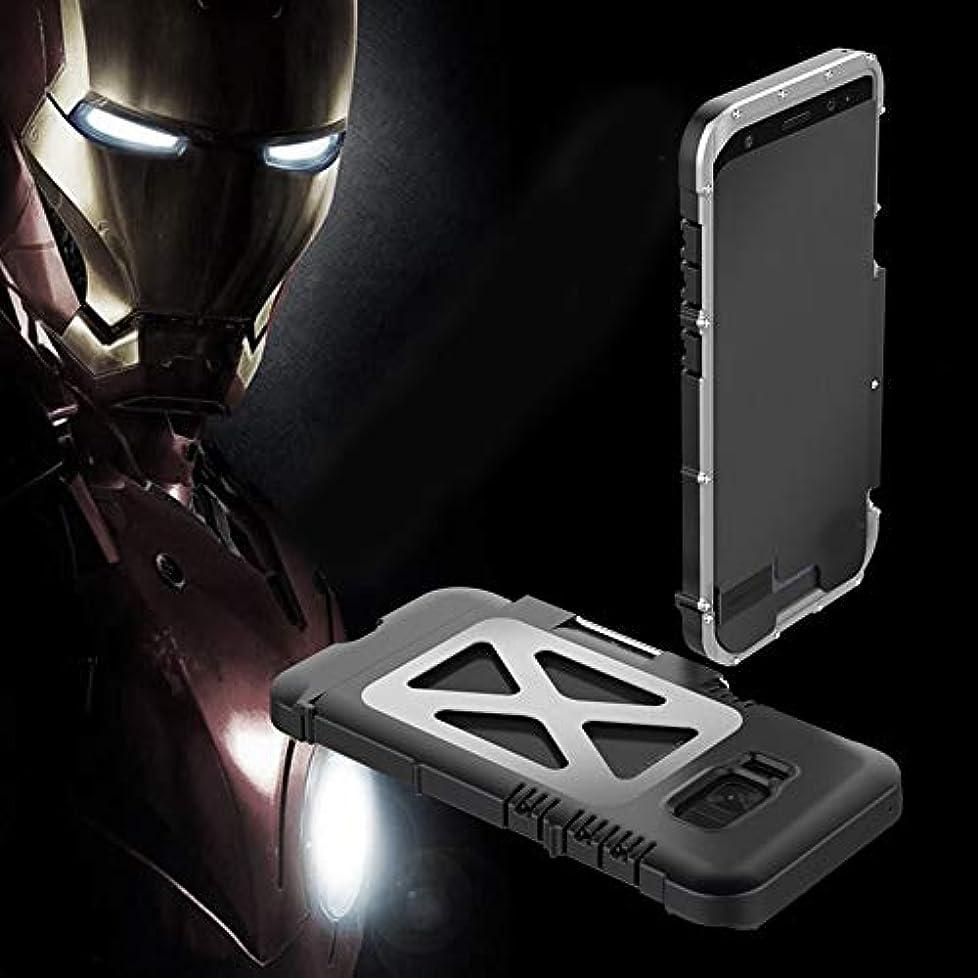 アスレチック試みるシャーTonglilili 携帯電話ケース、サムスンS5、S6、S6エッジ、S6エッジプラス、S7、S7エッジ、S8、S8、S9、S9用ブラケット落下防止クリエイティブスリーインワンメタルフリップアイアンマン保護携帯電話シェルホーンケースプラス (Color : BLACK SILVER, Edition : S9 Plus)