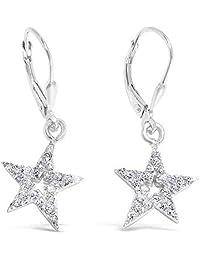Sterling Silver Cubic Zirconia Star Dangle Earrings - Leverback Earrings - 100% Hypoallergenic Jewelry