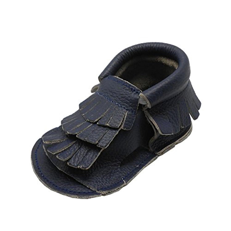 Sayoyo Baby Boyサンダルソフトソールレザータッセルベビーベッド靴