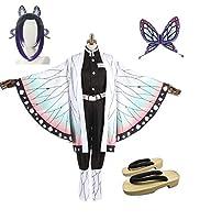 HALLE コスプレ衣装 コスチューム 胡蝶 しのぶ風衣装セット+ウィッグ+髪飾り+靴フルセット なりきり パーティー イベント仮装 (靴サイズはご注文後メールでご連絡してください, XLサイズ)
