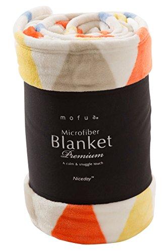 mofua (モフア) 毛布 ふんわりあったか 静電気防止加工 マイクロファイバー 1年間品質保証 洗える シングル 北欧 フラッグ柄 オレンジ 500001Q8