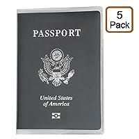 alait ( 5–パック)プラスチックパスポートカバー–パスポートプロテクター–PVCパスポートカバー–u.s.パスポートプロテクター–IDカードプロテクターケース(透明クリア)