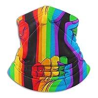 拳を上げて示すストライプの手。ゲイライツコンセプトユニセックスウィンターフリースネックウォーマーゲーターヘアバンド寒冷地チューブフェイスマスクサーマルネックスカーフ屋外UV保護パーティーカバー