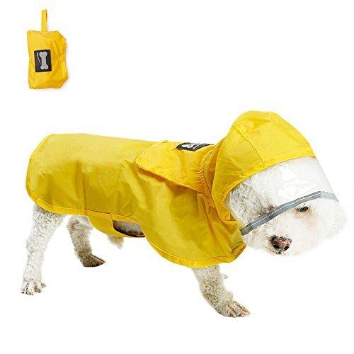 ALANSNOW 小型犬用レインコート 折り畳み 収納便利 雨散歩 お出かけ 犬用雨具 濡れない 犬用レーンコートポンチョ (イエロー, M)