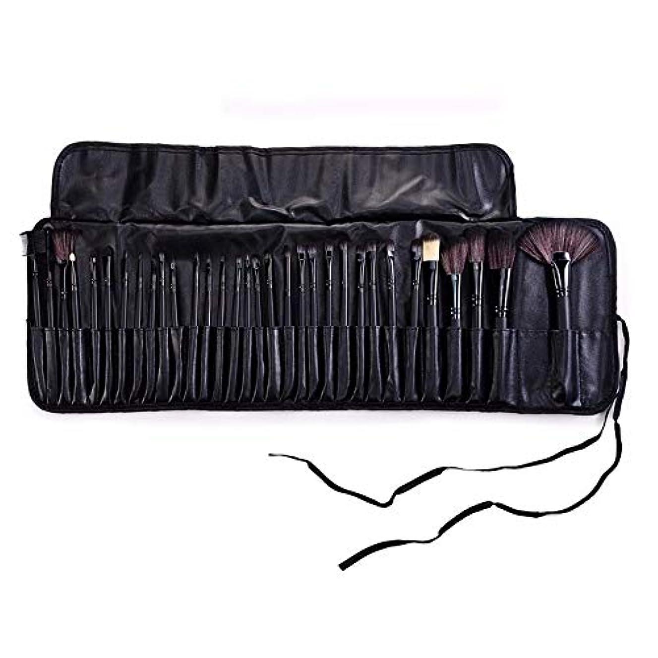 飾るバー休暇Makeup brushes ブラックバッグ32メイクブラシセットモダンな合成アイシャドウアイライナー液化ファンデーションコンシーラーミキシングブラシセット suits (Color : Black)