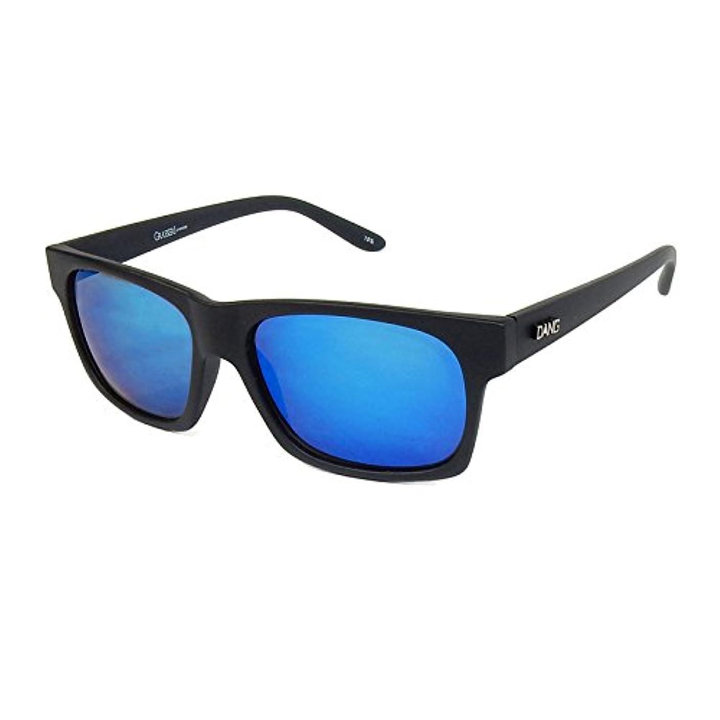 チューインガム結び目アーサーコナンドイルダン シェイディーズ ( DANGSHADES ) GRASSER Black Soft x Blue Mirror Polarized ( DANG METAL LOGO ) 偏光レンズ スケートボード サングラス メンズ レディース