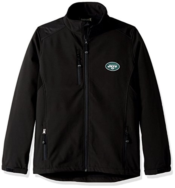 NFL New York Jetsメンズソフトシェルジャケット、Large、ブラック