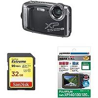FUJIFILM 防水カメラ XP140 ダークシルバーFX-XP140DS + 2点セット(SDカード 32GB、液晶保護フィルム)