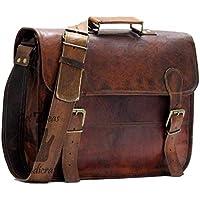 """Leather Messenger Bags for Men Women 16"""" Mens Briefcase Laptop Bag Best Computer Shoulder Satchel School Distressed Bag"""