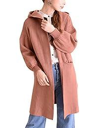 (sawa a la mode) サワアラモード レディース フード付きリブ袖ニットカーディガン ファッション カーディガン フード付き 長袖