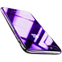 FLOVEME for iPhone 8 Plus/7 Plus Case, Luxury Slim Fit Gradual Colorful Gradient Change Color Ultra Thin Lightweight Electroplating Bumper Anti-Drop Clear Hard Back Cover Holder, Transparent Purple