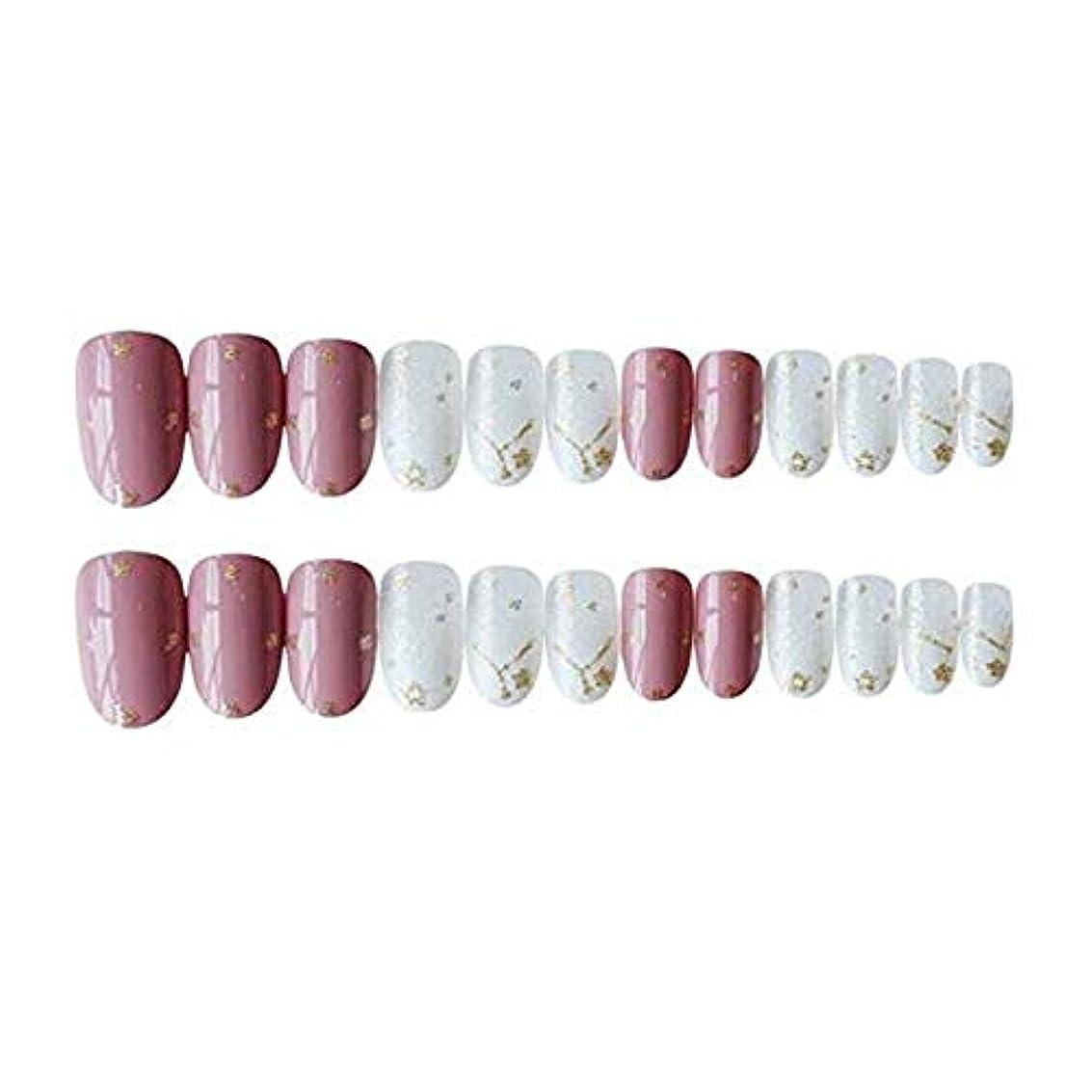 ピンク スター 金箔 中位の長さ ネイルチップ 夢幻 可愛い24枚 12サイズ