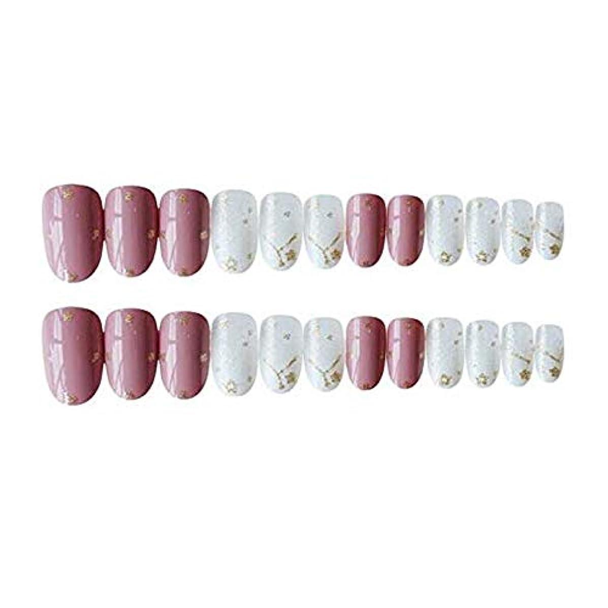 ハードウェア枯渇ドナウ川ピンク スター 金箔 中位の長さ ネイルチップ 夢幻 可愛い24枚 12サイズ