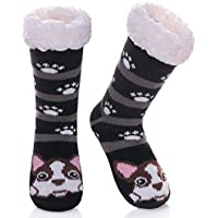 DOSONI Kids Boys Girls Fuzzy Slipper Socks Children Cute Animal Soft Warm Thicken Winter Fleece Lined Non-Skid Home Socks