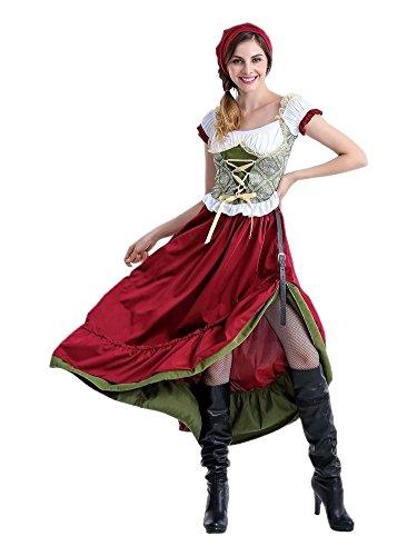 Honeystore ハロウィン衣装 魔女 メイド服 メイド ビールガール 衣装 仮装 コスプレ ハロウィン コスチューム 大人用 レディース XL