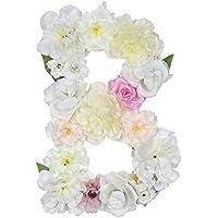 darongfengハンドメイドDIYフラワーLetters Made Withシルク花柄パーティーの装飾ウェディング B イエロー