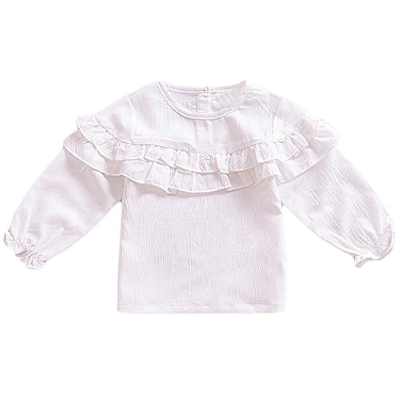 MIOIM ベビー服 女の子 Tシャツ 長袖 フリル袖 ワンカラー 可愛い キッズ ブラウス 通園 発表会 カジュアル 普段着 6ヶ月-3歳