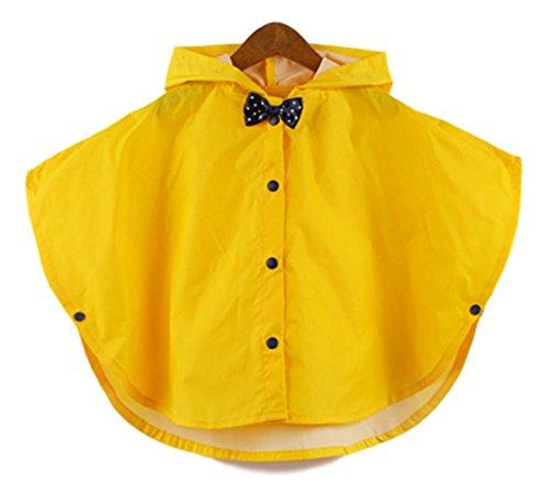 しあわせ倉庫 リボンが可愛い キッズ レインコート ポンチョ カッパ 子供 通学 通園 男の子 女の子 (イエロー)