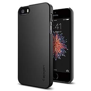 【Spigen】 スマホケース iPhone SE ケース / iPhone5s ケース / iPhone5 ケース 対応 レンズ保護 超薄型 超軽量 シン・フィット 041CS20168 (ブラック)