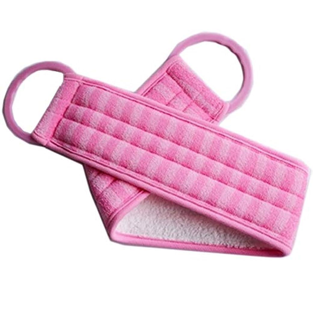 書誌巡礼者ルビーボディエクスフォリエイティング用ハンドルバススポンジブラシ付きロングバックスクラバー、ピンク