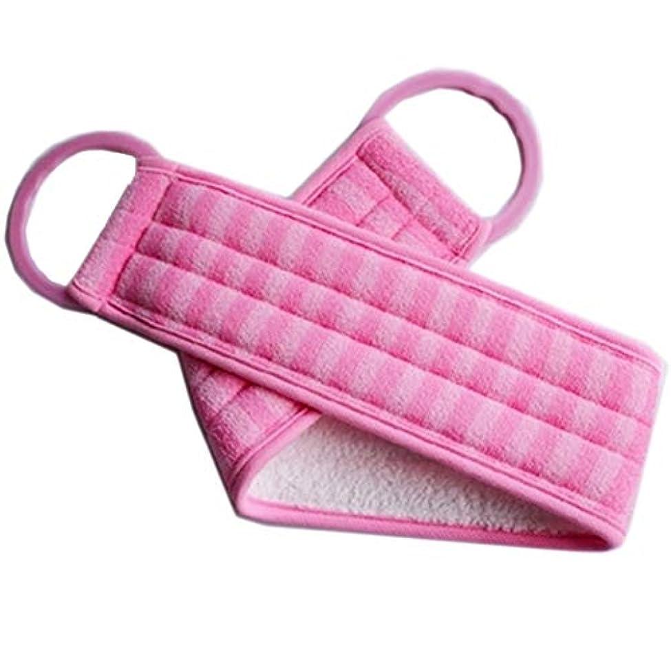 退屈ますますくるくるボディエクスフォリエイティング用ハンドルバススポンジブラシ付きロングバックスクラバー、ピンク