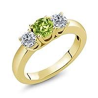 Gem Stone King 1.00カラット 天然石 ペリドット 天然 ダイヤモンド シルバー925 イエローゴールドコーティング 指輪 リング