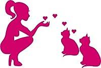 """猫好きの女性–子猫の車用ビニールデカール ノートパソコン 車のウィンドウ 壁用ステッカー 8"""" ピンク CAT-603-8"""