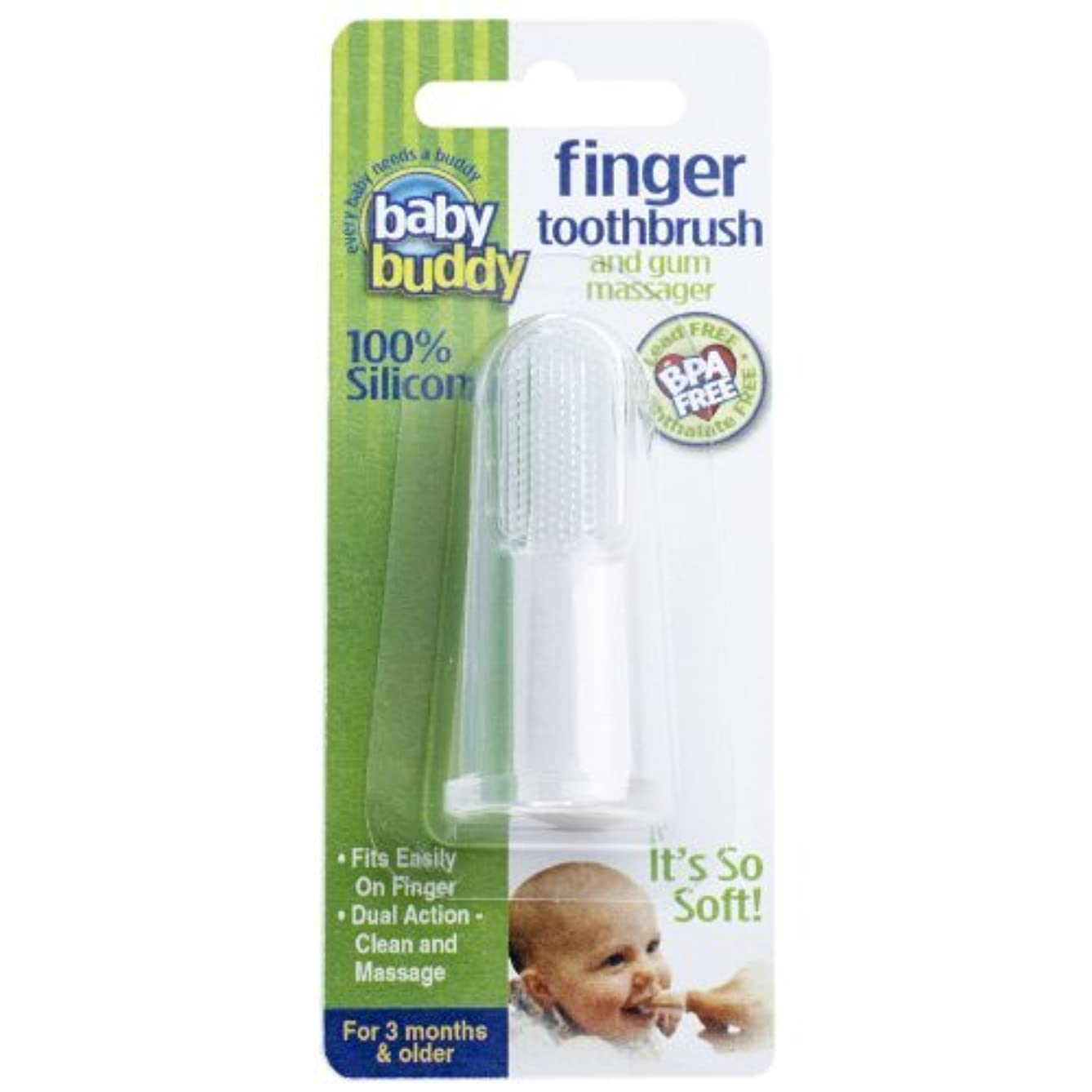 誇り永続汚染されたBaby Buddy Silicone Finger Toothbrush, Clear by Baby Buddy [並行輸入品]