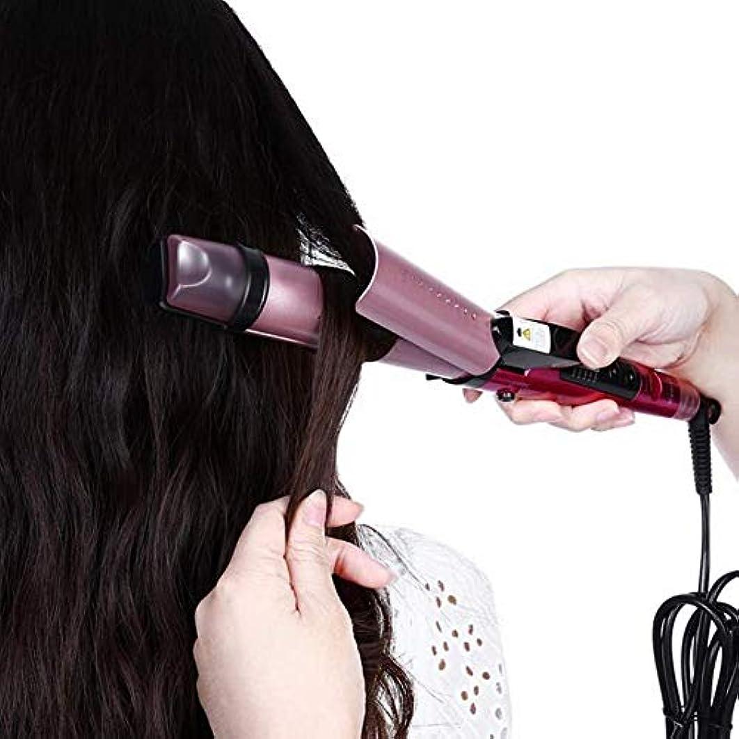 楽観失速可能にするスチームストレートヘアコームマイナスイオンカーリングロッドストレートデュアルユース電動コイルロッドで髪を傷つけません(カラー:ローズレッド)
