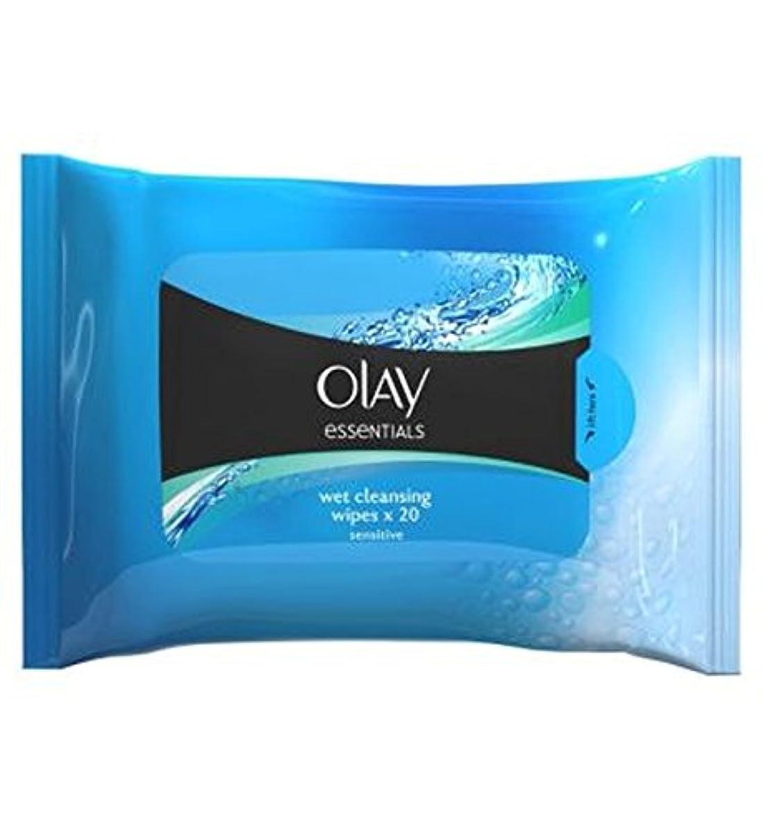 楕円形利得濃度顔の敏感なクレンジングは、再シール可能なポーチX20にワイプオーレイの必需品 (Olay) (x2) - Olay Essentials Facial Sensitive Cleansing Wipes in Resealable...