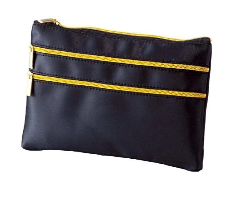蒸発する結核ソーセージ薄型 平型 スリムポーチ コスメポーチ 化粧ポーチ (ブラック)