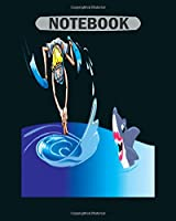 Notebook: water jumping man and shark art6 - 50 sheets, 100 pages - 8 x 10 inches