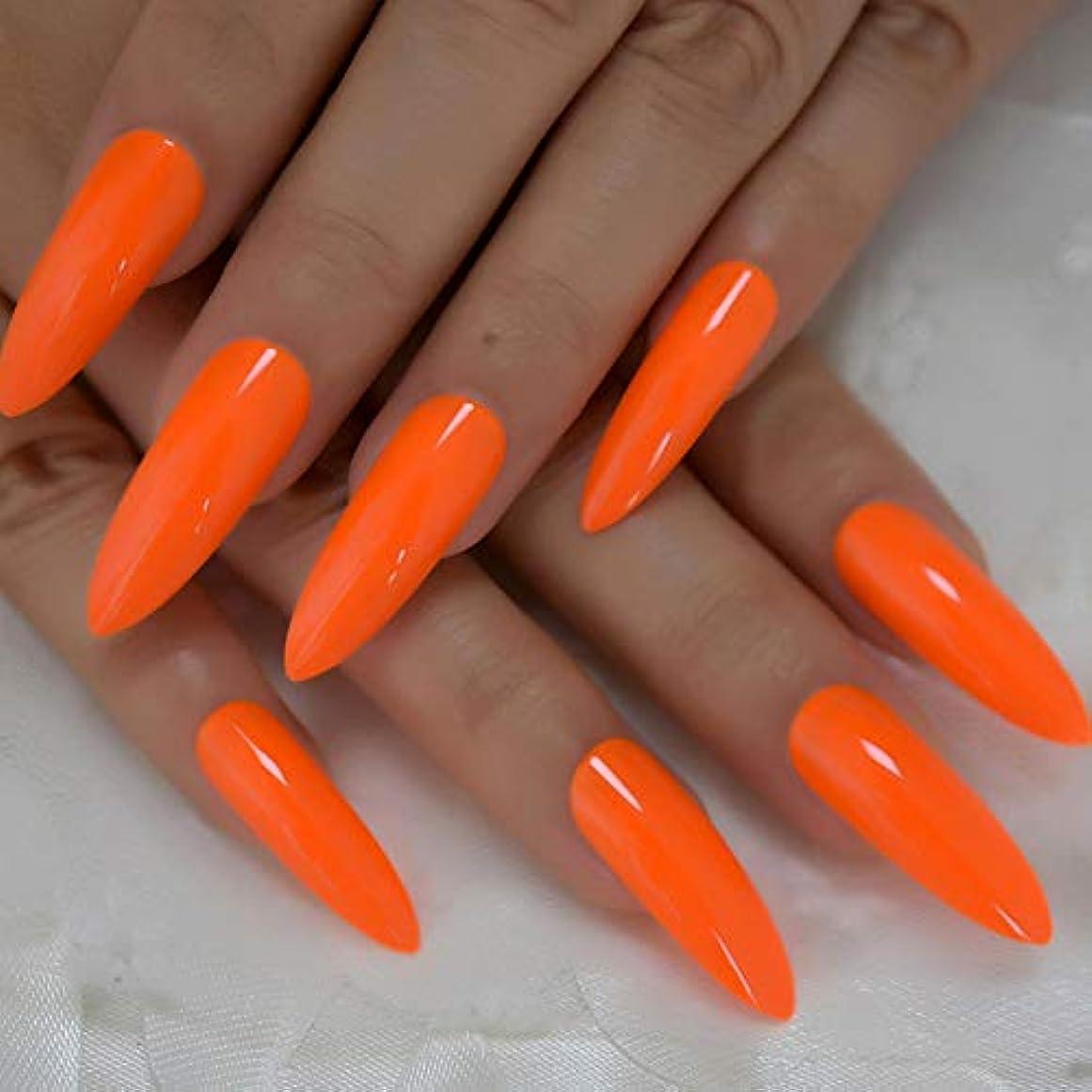 望ましい石些細XUTXZKA 偽の爪爪のデコレーションマニキュアのヒントの非常に長いオレンジ色の光沢のあるプレス爪24
