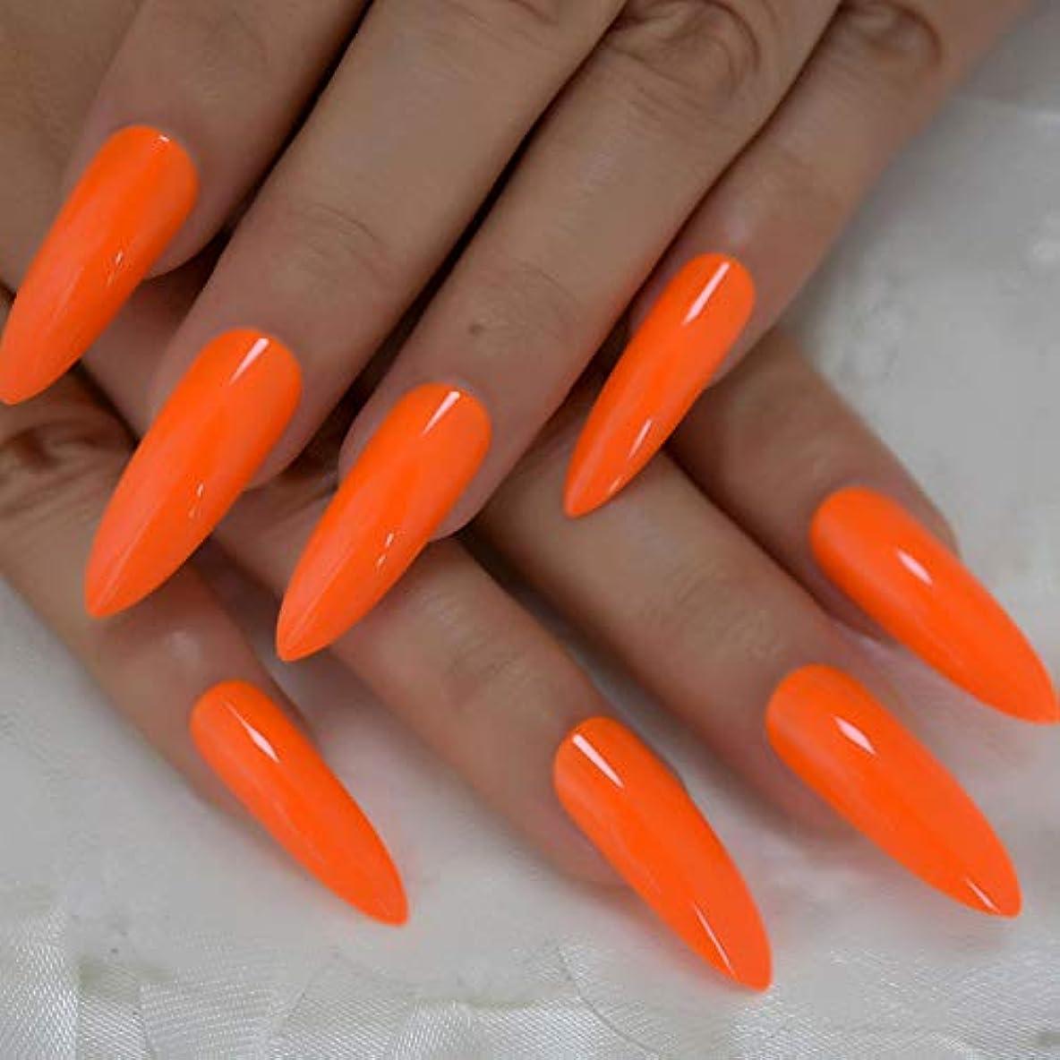 遺体安置所辞任ビルダーXUTXZKA ネオン偽爪ネイルデコレーションマニキュアのヒントの非常に長い光沢のあるオレンジ色の光沢のあるプレスネイル24個