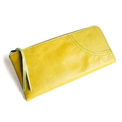 [パッカパッカ] pacca pacca 日本製 本革 馬革 レディース 薄型 長財布 L字 ファスナー ジッパー 薄い ナチュラル カラフル (イエロー)