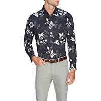 Tarocash Men's Floral Geo Print Shirt Fit Long Sleeve Sizes XS-5XL for Going Out Smart Occasionwear Black