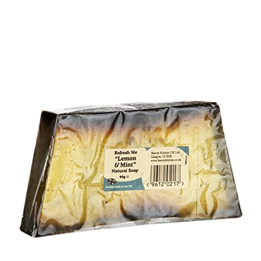 ヒント手段彫る美しさのキッチンは私にレモン&ミントの天然石鹸90グラムを更新します - Beauty Kitchen Refresh Me Lemon & Mint Natural Soap 90g (Beauty Kitchen)...