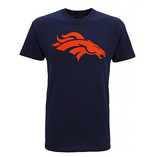 NFL デンバー・ブロンコス Denver Broncos オフィシャル メンズ 半袖Tシャツ ロゴT プリント アメフトTシャツ 夏 男性用 (XL) (ネイビー)