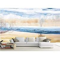 Weaeo 3D壁紙壁画をカスタマイズする石の大理石3D写真壁紙冬の風景雪背景壁-150X120Cm