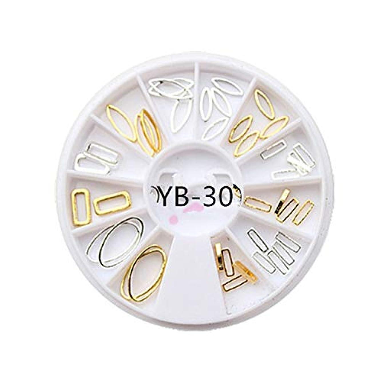 モック大置き場手足ビューティーケア 3ピースdiyマニキュアディスク飾りアーク金属リング不規則フレーム中空馬の目のリベット光線療法ネイルデコレーション (色 : YB-30)