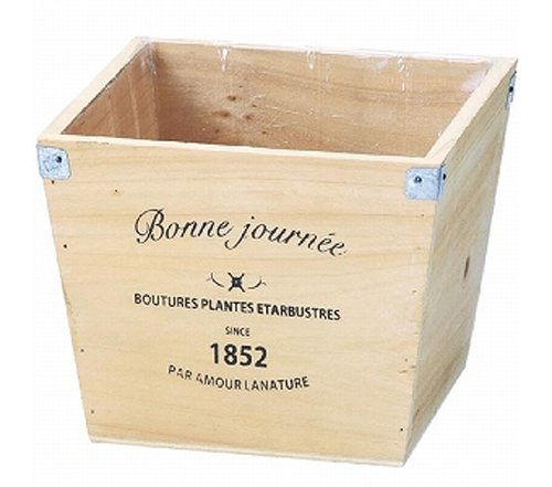 GREEN HOUSE Logo wood planter N (ナチュラル) (165×165×140mm) 3076-C