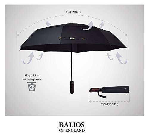 Balios® Prestige Travel Umbrella, Real Wood Handle, Auto Open & Close, Vented Windproof Double Canopy, Designed in UK (Jet Black)