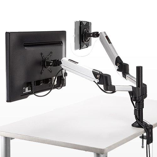 液晶モニタとタブレットを同時に取り付ける「液晶モニター・タブレットアーム(100-LA028)」