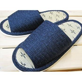 畳中スリッパ 和風無地 藍/メンズ(~27cm程度まで)