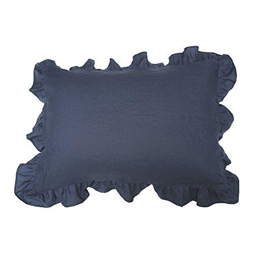 joujou in MOOR FABRIC フリル付 枕カバー ピローケース 50×70cm ネイビー フレンチ リネン 麻 100% 日本製