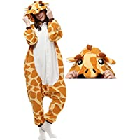 ZMREGE Unisex Adult Giraffe Onesies Animal Cosplay Costume Kigurumi Sleepwear Halloween Xmas Party Pajamas Outside Nightwear