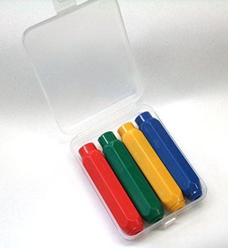 Carennac チョーク ケース ホルダー 4色 4本 セット マグネット付き 収納ケース付き 手を汚さず 小さくなる...