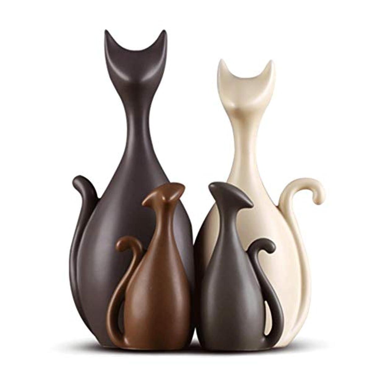 叫び声必要ないボーカルGWM かわいい猫家族のセラミック装飾品、装飾品磁器、アートワーククリエイティブカップルギフト、モダンなスタイルとクリエイティブ装飾的な要素