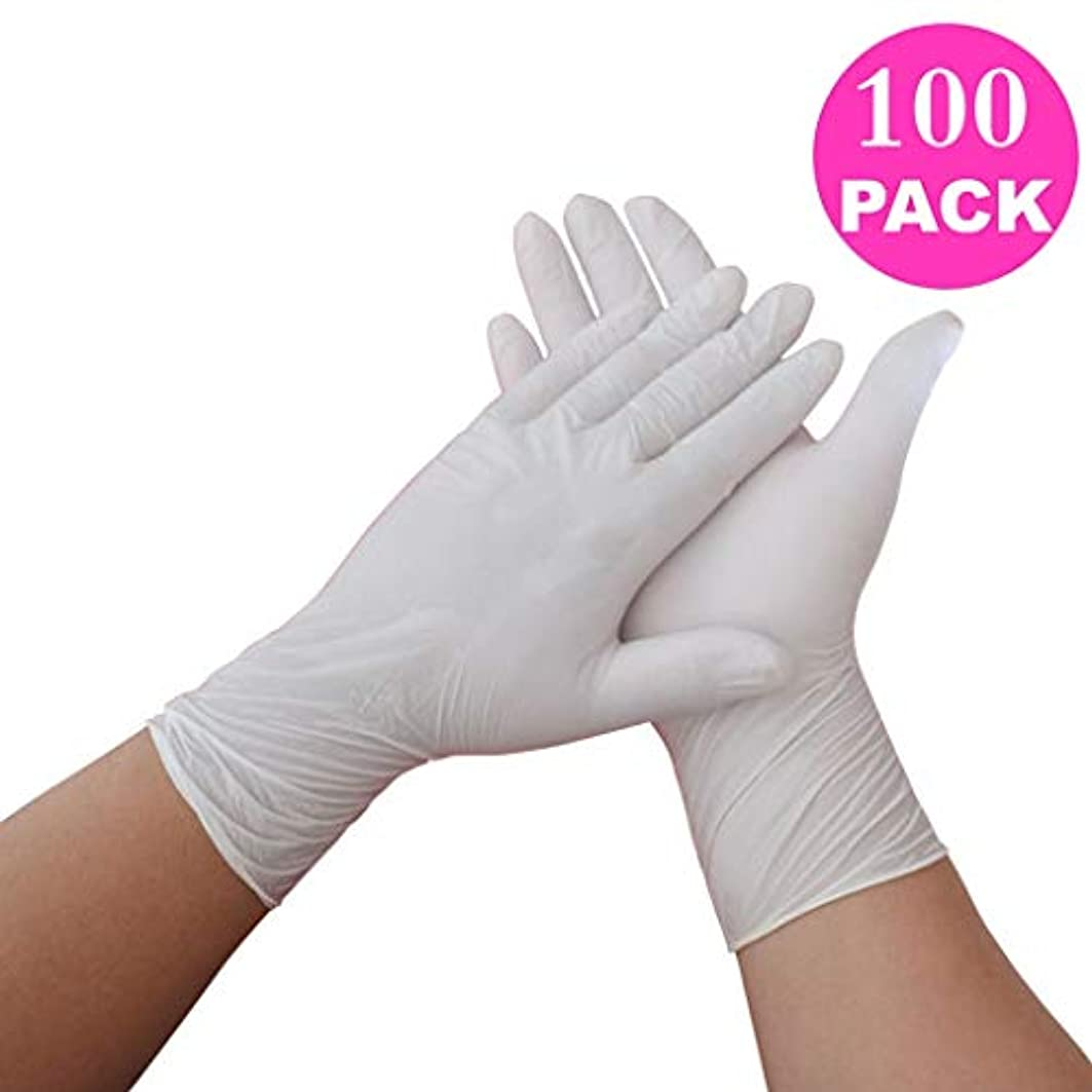 相互接続去るファックス病院ラテックスNitrileLatexパック毎のゴム白ニトリル実験室外科gloves100 (Color : White, Size : S)